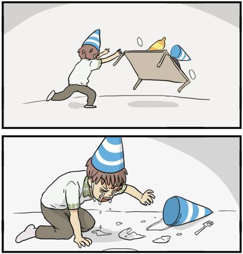 생일 솔로 좌절 눈물 혼자 여자친구 밥상엎는 생일상 뒤집는 장면
